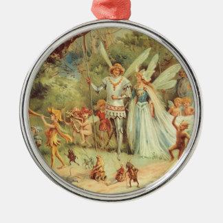 Boda del vintage de Thumbelina y del príncipe Adorno Navideño Redondo De Metal