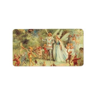 Boda del vintage de Thumbelina y del príncipe Etiqueta De Dirección