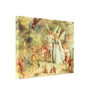 Boda del vintage de Thumbelina y del príncipe Impresiones En Lona Estiradas