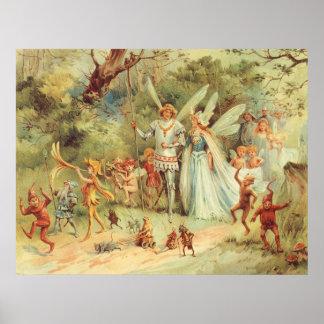 Boda del vintage de Thumbelina y del príncipe Posters