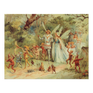 Boda del vintage de Thumbelina y del príncipe Póster