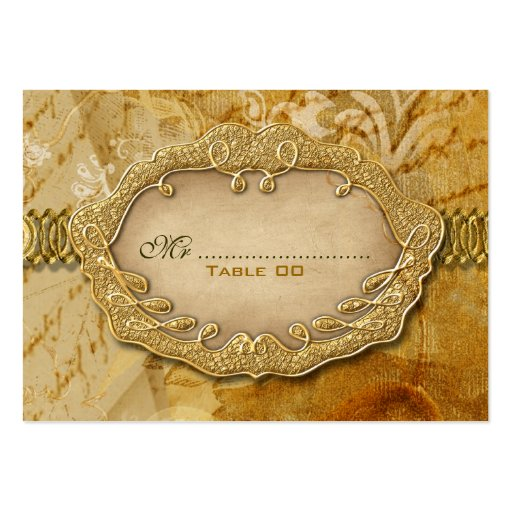 Boda del vintage del marrón del oro del asiento plantillas de tarjetas de visita