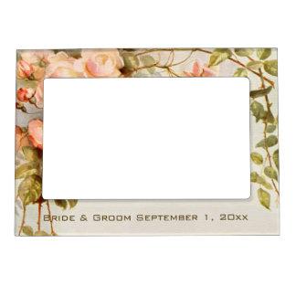 Boda del vintage flores color de rosa rosadas ant marcos magnéticos para fotos