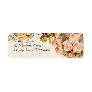 Boda del vintage, flores color de rosa rosadas etiqueta de remitente