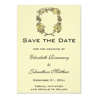 Boda del vintage, guirnalda antigua amarilla del invitación 11,4 x 15,8 cm