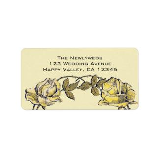 Boda del vintage guirnalda antigua amarilla del r etiquetas de dirección