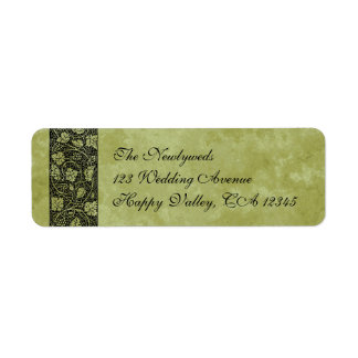 Boda del vintage, hojas de la vid de uva del etiqueta de remite
