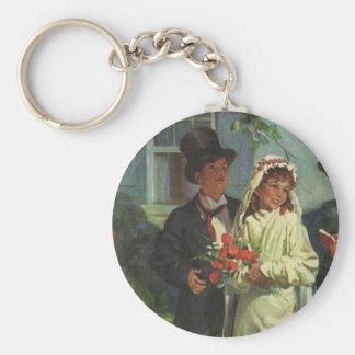 Boda del vintage, niños como novia y novio llavero redondo tipo pin