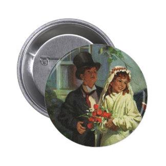 Boda del vintage, niños como novia y novio chapa redonda 5 cm