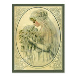 Boda del vintage, novia del Victorian con las flor Postales