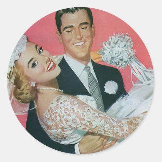 Boda del vintage, novia que lleva del novio, pegatina redonda