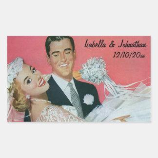 Boda del vintage, novia que lleva del novio, pegatina rectangular