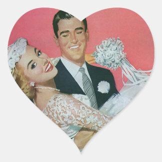 Boda del vintage novia que lleva del novio recie calcomania corazon personalizadas