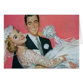 Boda del vintage, novia que lleva del novio, tarjeta pequeña