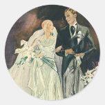 Boda del vintage, novia y Goom, recienes casados Etiqueta Redonda