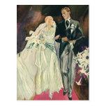 Boda del vintage, novia y Goom, recienes casados Tarjeta Postal