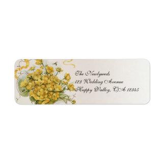 Boda del vintage prado floral de las abejas de la etiqueta de remite