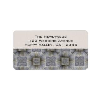 Boda del vintage rayas metálicas retras de los cu etiqueta de dirección