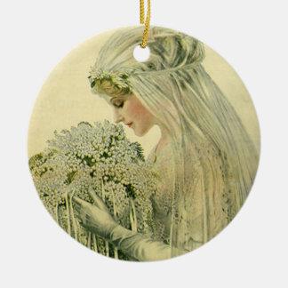 Boda del vintage, retrato nupcial de la novia del adorno redondo de cerámica