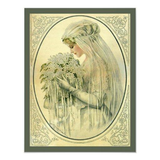 Boda del vintage, retrato nupcial de la novia del invitación 10,8 x 13,9 cm