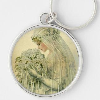 Boda del vintage retrato nupcial de la novia del llavero personalizado