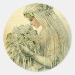 Boda del vintage, retrato nupcial de la novia del  pegatina redonda