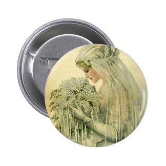 Boda del vintage, retrato nupcial de la novia del pins