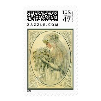 Boda del vintage, retrato nupcial de la novia del sello postal