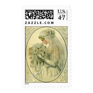 Boda del vintage, retrato nupcial de la novia del sellos postales
