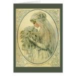 Boda del vintage, retrato nupcial de la novia del  tarjetas