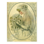 Boda del vintage, retrato nupcial de la novia del postal