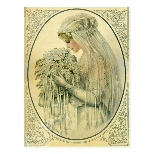 Boda del vintage, retrato nupcial de la novia del  postales