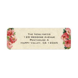 Boda del vintage, rosas rosados de las flores etiqueta de remitente