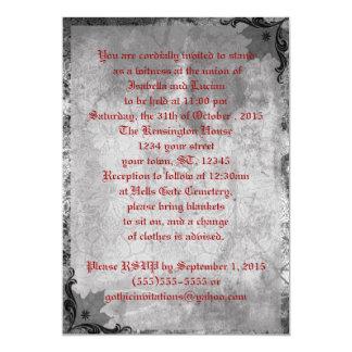 """Boda díscolo del gótico de Halloween del viento Invitación 5"""" X 7"""""""