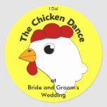 Boda divertido de encargo de la danza del pollo de etiquetas redondas