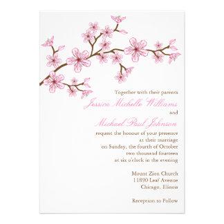 Boda elegante de la flor de cerezo invitaciones personales
