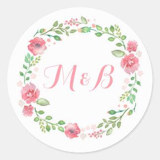 Boda elegante de la guirnalda floral de la pegatina redonda