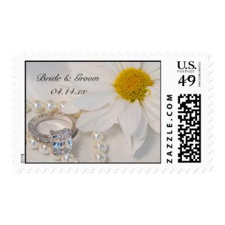 Boda elegante de la margarita blanca timbres postales
