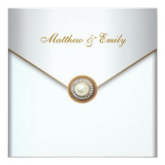 Boda elegante de la perla de la perla de marfil invitacion personal
