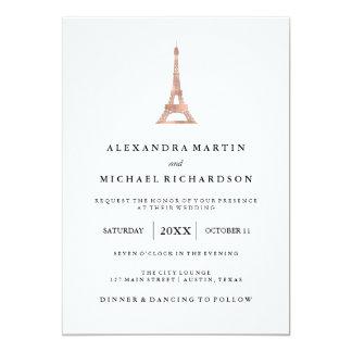 """Boda elegante de la torre Eiffel del falso oro Invitación 5"""" X 7"""""""