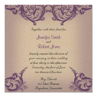 Boda elegante de la voluta poner crema y púrpura invitacion personal