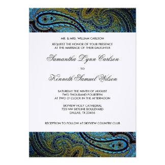 Boda elegante de Paisley del pavo real del azul re Anuncios Personalizados