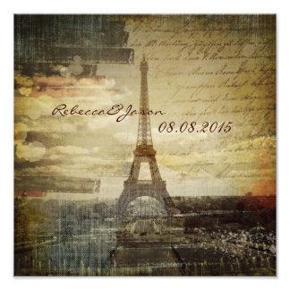 boda elegante de París del vintage de la torre del Fotografía