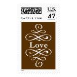 Boda elegante del amor del remolino del KRW Brown Sello Postal