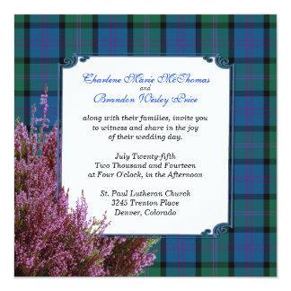 """Boda elegante del brezo de la tela escocesa de invitación 5.25"""" x 5.25"""""""
