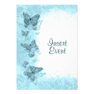 Boda elegante del cumpleaños de la mariposa azul invitacion personal