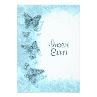 """Boda elegante del cumpleaños de la mariposa azul invitación 5"""" x 7"""""""