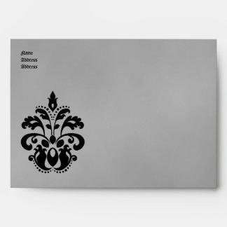 Boda elegante del damasco en A7for negro y gris 5x Sobres
