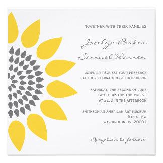 Boda elegante del girasol invitación 13,3 cm x 13,3cm
