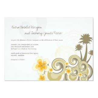 """Boda elegante del hibisco amarillo tropical de las invitación 5"""" x 7"""""""